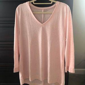 LOFT Outlet Blush Pink V-Neck Sweater XL